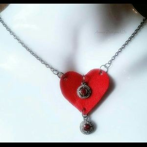 Jewelry - Red ▪Brown Leather Heart Choker ♡ Valentines